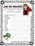 French Remembrance Day wordsearch ~Jour du Souvenir mots cachés