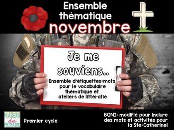 French - Word wall pack - Le jour du souvenir - Novembre