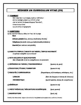 french résumé outline curriculum vitae cv by french teacher canada