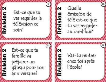 French Review Task Cards - version 2 - oral and written