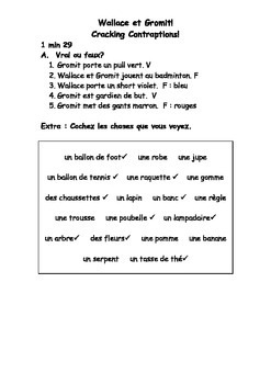 French Teaching Resources: Sports & Clothes Revision Using A Film Extract.