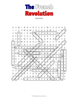 French Revolution Word Search Puzzle
