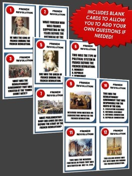 French Revolution - 32 French Revolution Task Cards with Answer Sheet