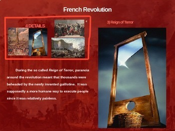 French Revolution - 4 causes, 4 figures, 4 events, 4 effects (20-slide PPT)