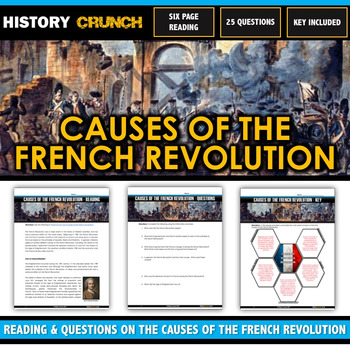 French Revolution Causes - Reading, Questions, Chart and Key (20 Pages/5 Causes)