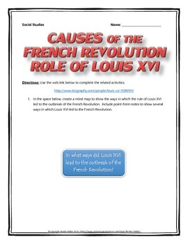 French Revolution Causes - Role of Louis XVI (Mind Map wit