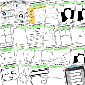 French Revolution Activities, Choice Board, Print & Digital, Google