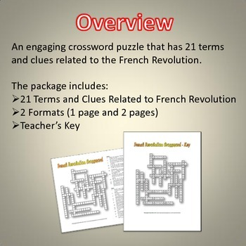 French Revolution - Crossword Puzzle and Key (21 Terms and Clues)