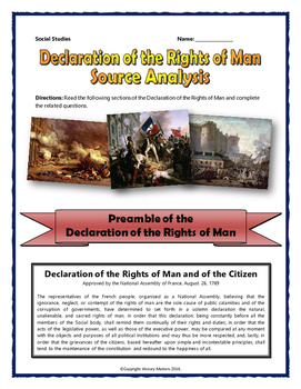 French Revolution - Declaration of the Rights of Man (Source Analysis with Key)
