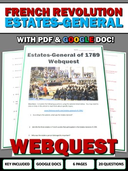 French Revolution Estates General - Webquest with Key (Google Doc Included)