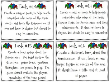 Renaissance Task Cards; No-Prep