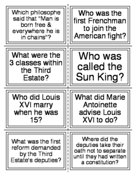 French Revolution Flash cards
