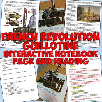 French Revolution Guillotine Interactive Notebook Page and Reading