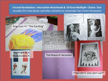 French Revolution Interactive Notebook and 50 item test