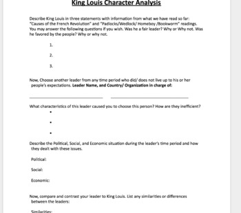 French Revolution King Louis Leadership Analysis and Leader Comparison