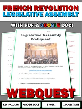 French Revolution Legislative Assembly - Webquest with Key (Google Doc Included)