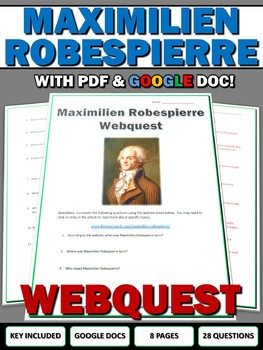 French Revolution Maximilien Robespierre - Webquest with Key (Google Docs)