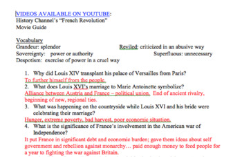 French Revolution Movie Guide (Questions with Answer Key)