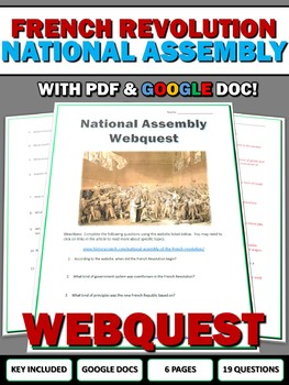 French Revolution National Assembly - Webquest with Key (Google Doc Included)