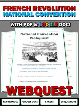 French Revolution National Convention - Webquest with Key (Google Doc Included)
