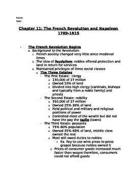 French Revolution Note Outline