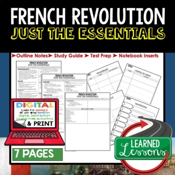 French Revolution Outline Notes JUST THE ESSENTIALS Unit Review