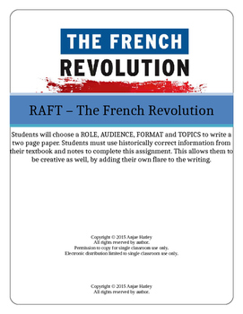 French Revolution RAFT Writing Assignment