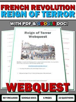 French Revolution Reign of Terror - Webquest with Key (Google Doc Included)