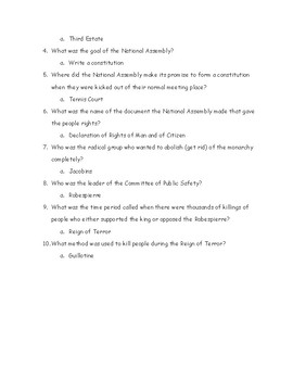 French Revolution Review Fill in the Blanks Worksheet with Answers
