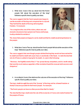 French Revolution - Source Analysis (Execution of Louis XVI) Questions with Key