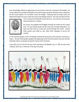 French Revolution - Storming the Bastille (Reading, Questions, Assignment, Key)