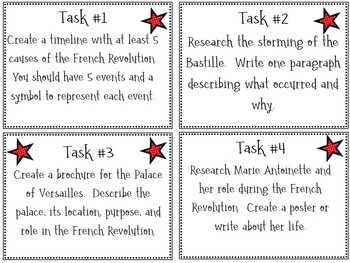 French Revolution Task Cards; No-Prep