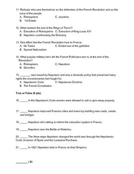 French Revolution Test (Final Exam)