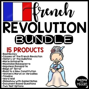 French Revolution Unit Plan , Reading Comprehension, Test, Project, DBQ, No-Prep