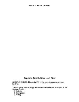 French Revolution Unit Test and Study Guide