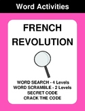 French Revolution - Word Search, Word Scramble,  Secret Co