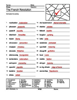 French Revolution Word Search and Word Scramble Printable Worksheets