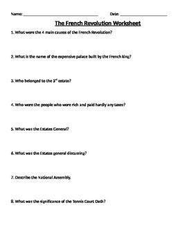 Global 2: French Revolution Worksheet