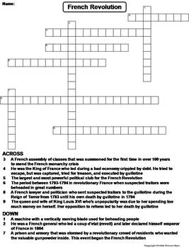 French Revolution Worksheet Crossword Puzzle By Science Spot Tpt