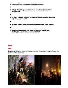 French Revolution vs Arab Spring Complementing Worksheets