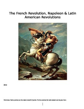 French Revolutionary Period- Congress of Vienna- Latin American Revolutions