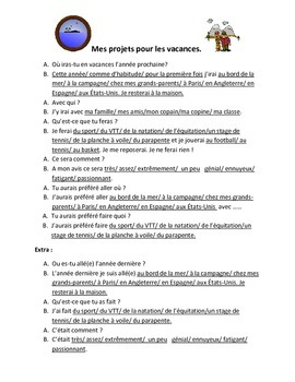 French Teaching Resources: Role Play: Future Holidays.