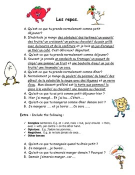 French Teaching Resources: Role Play: Meals & a Range of Tenses.