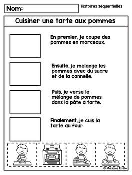 French Apple Pie Sequencing activity/ Histoires séquentielles (Tarte aux pommes)