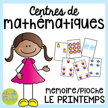 French SPRING Math Centres - jeux de cartes (Centres de maths en français)