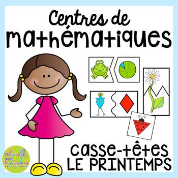 French SPRING Math Centres - les casse-têtes (Centres de maths en français)