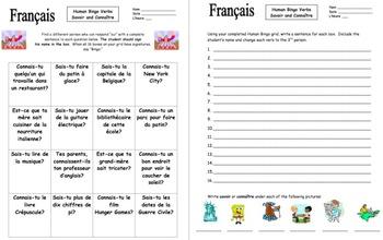 French Savoir and Connaître Human Bingo Game Speaking Activity