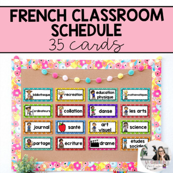 French Schedule Cards (35 cards!) / Horaire de classe (35 cartes!)