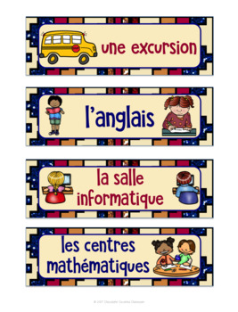 French Schedule Cards for FSL and French Immersion Classes