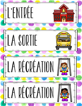French Schedule Cards/Labels for Classroom Timetable (Horaire de classe)